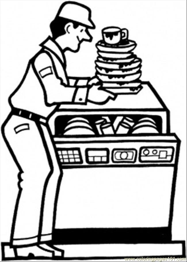 Dish Washing Machine Coloring Page