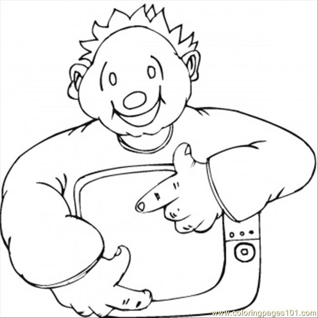 Happy Man With Little Tv Coloring Page - Free Home Appliances ...