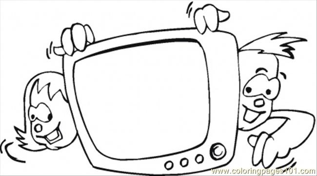 Kids Watching Tv Coloring Page Free Home Appliances Colors Tv Home Page