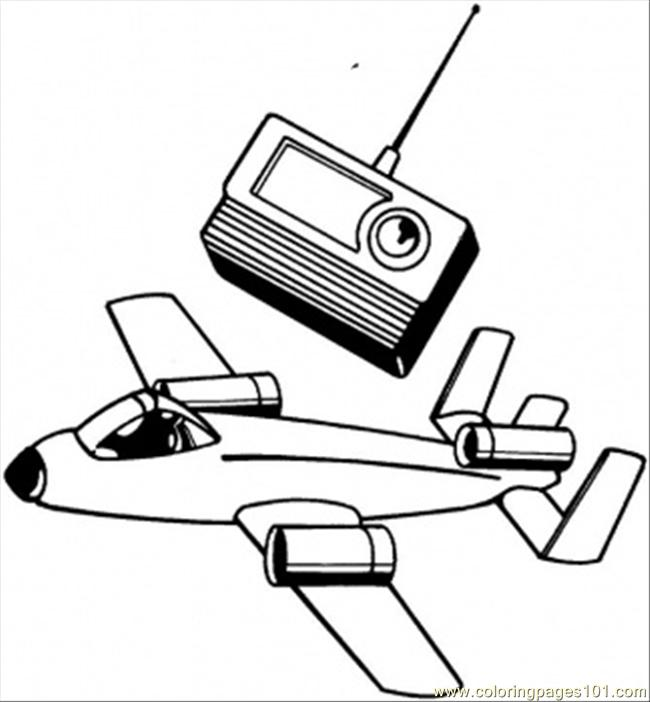 Plane And Radio Coloring Page