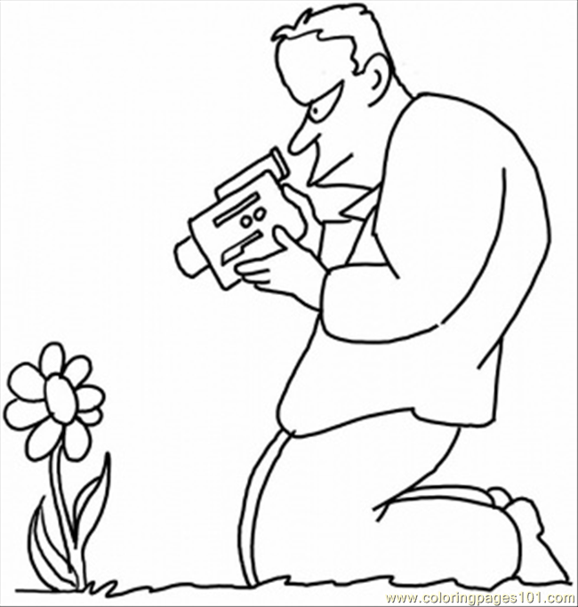 Taking Picture Of A Flower Coloring Page