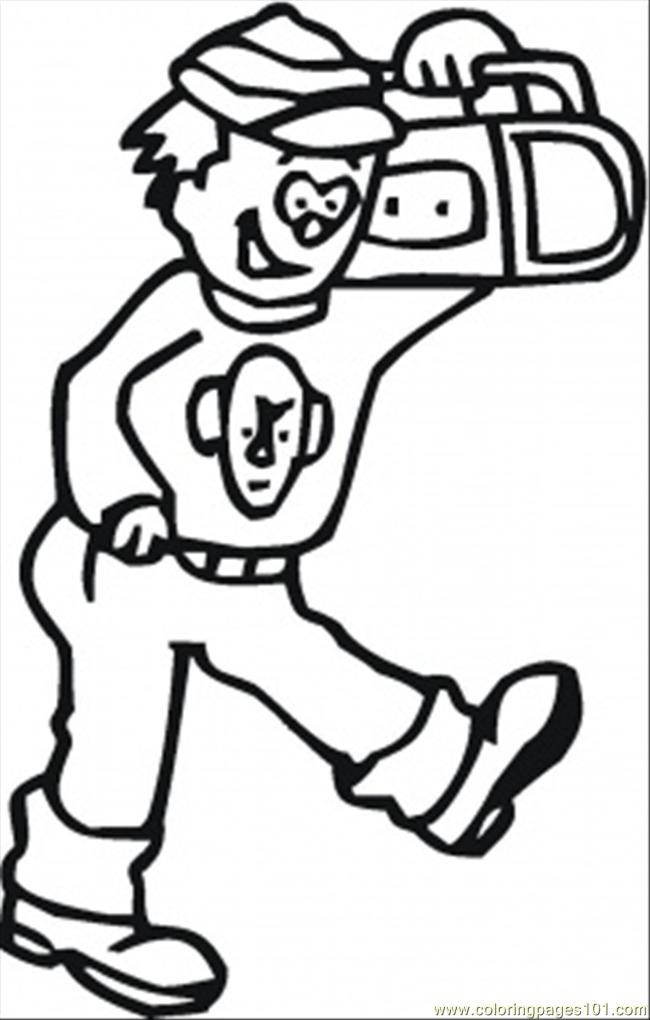 Walking With Radio Coloring Page