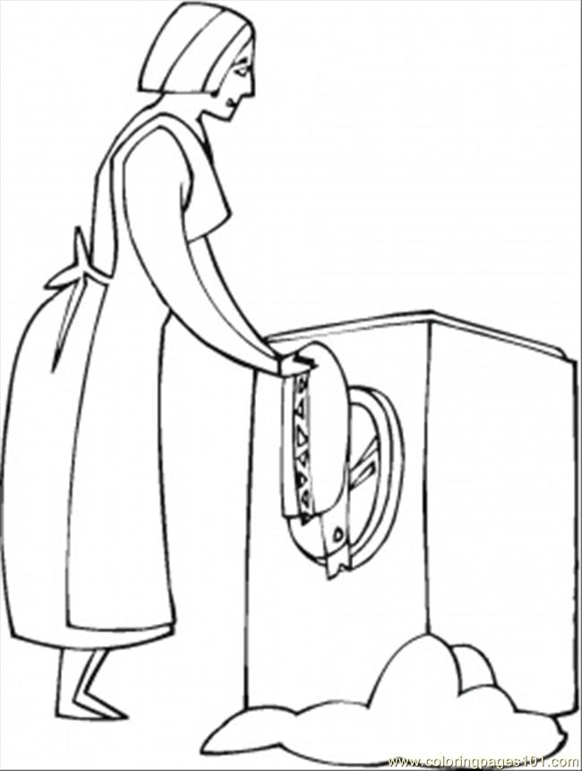 Washing The Clothes Coloring Page