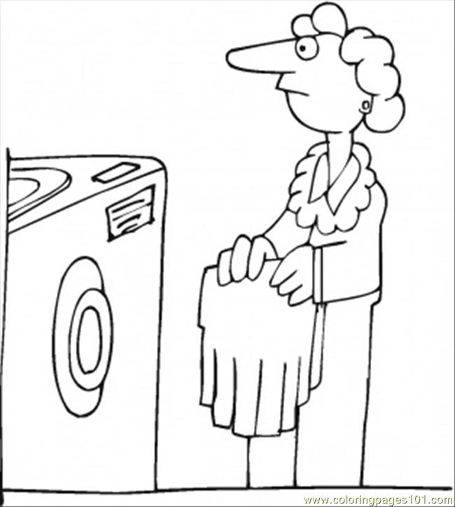 Wash The Clothes Coloring Page