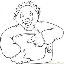 Happy Man With Little Tv Free Coloring Page for Kids