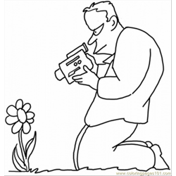 Taking Picture Of A Flower Free Coloring Page for Kids