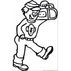 Walking With Radio Free Coloring Page for Kids