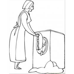 Washing The Clothes Free Coloring Page for Kids