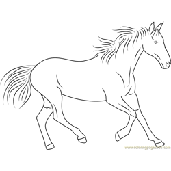 Horse Running Free Coloring Page for Kids
