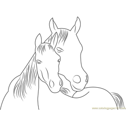 Horse in Love Free Coloring Page for Kids