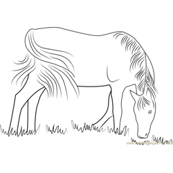 Horses Feeding Free Coloring Page for Kids