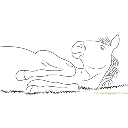 Lazy Horse Free Coloring Page for Kids