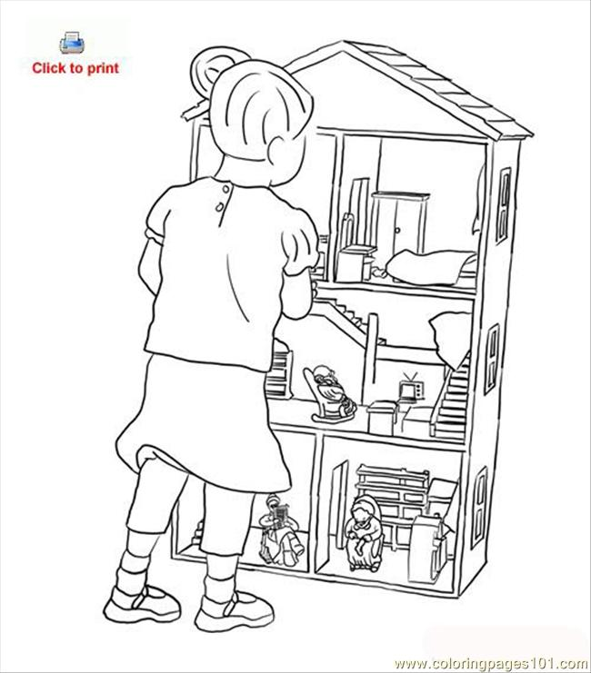 Doll House Coloring Page