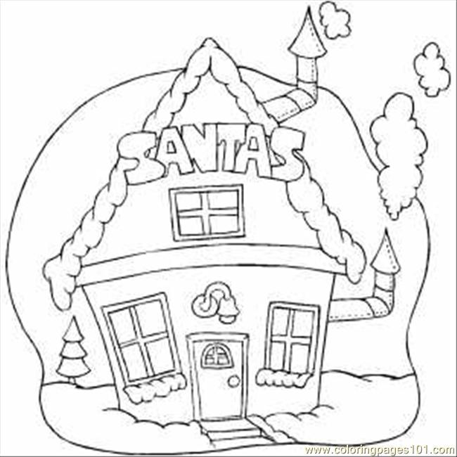 santa claus house coloring pages - photo#1