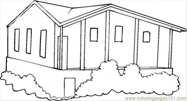 Bungalow Coloring Page Free Houses Coloring Pages