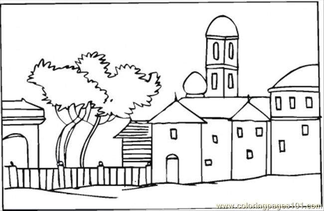 Bungalow Near The Tree Coloring Page