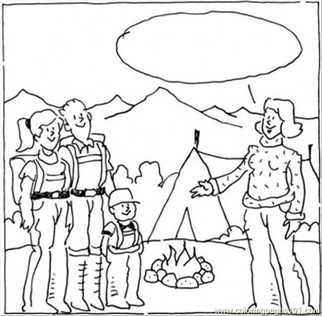 Camp With Tents Coloring Page