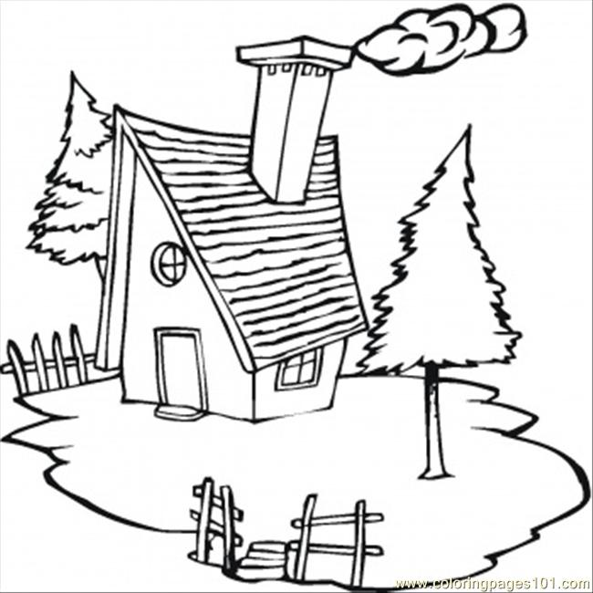 Cold Cottage In The Village Coloring Page