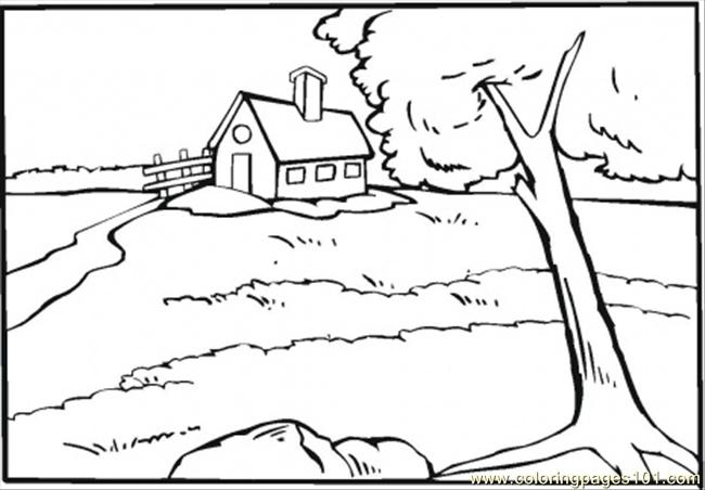 Country House Near The River Coloring Page Free Houses Coloring