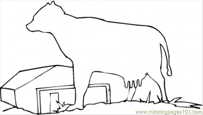 Farmhosue With The Cow Coloring Page