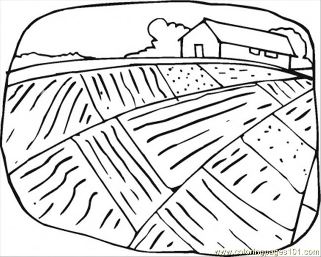 Farmhouse And The Field Coloring Page