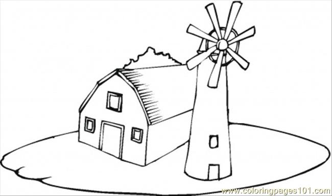 Farmhouse Near The Windmill Coloring Page Free Houses Coloring