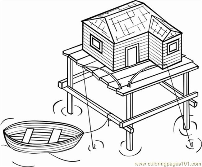 Ges Photo Stilt House Dm16117 Coloring Page Free Houses