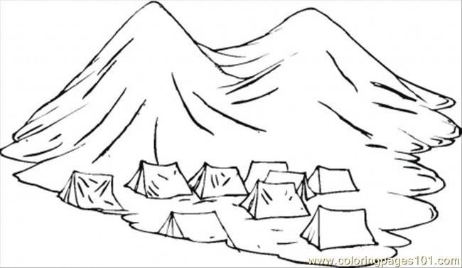 Group Of Nomads Tents In The Mountains Coloring Page
