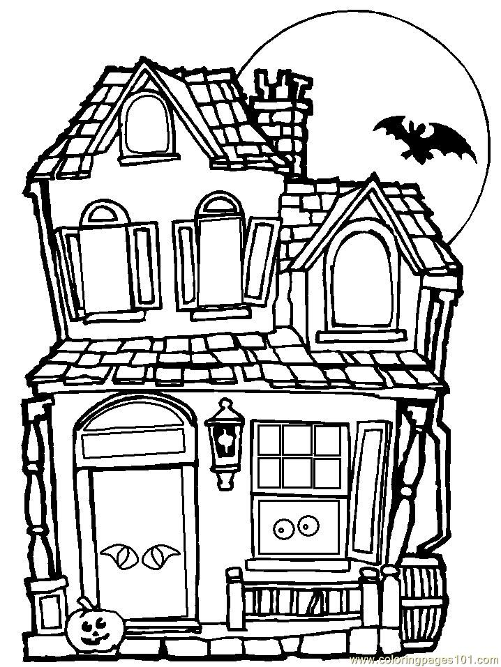 - Haunted House Coloring Page - Free Houses Coloring Pages :  ColoringPages101.com