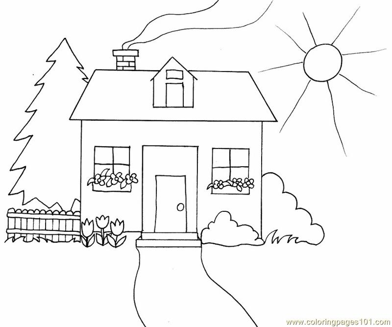 Sketch house Coloring Page