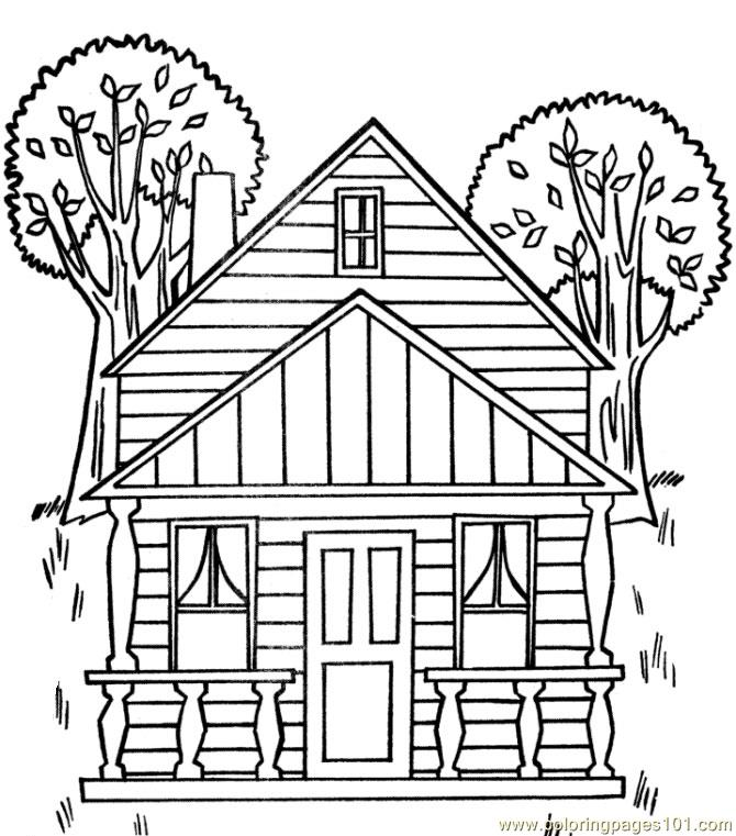 Tree House Coloring Page Free Houses Coloring Pages