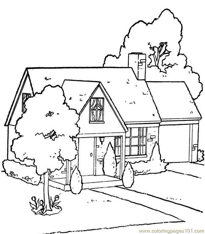 Garden house coloring page free houses coloring pages House and garden online