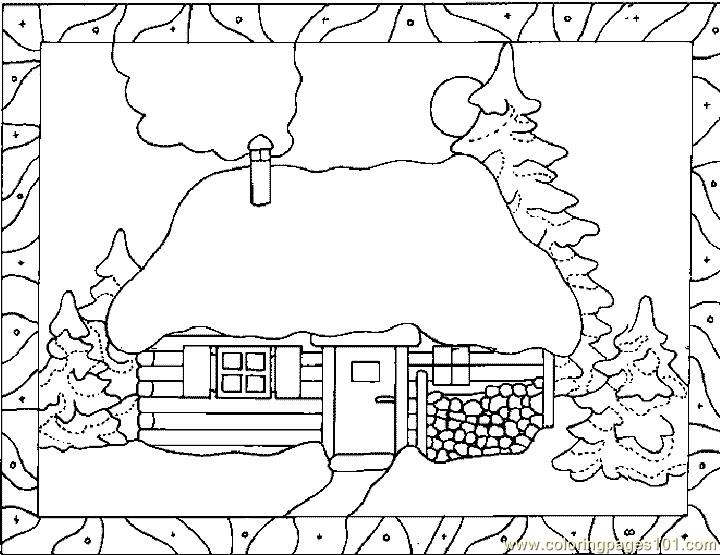 Snow Fall House Coloring Page