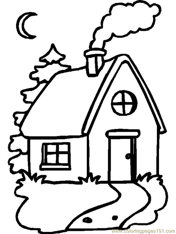 Simple Single Home Coloring Page