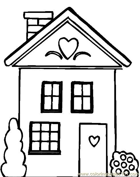 Heart design house Coloring Page