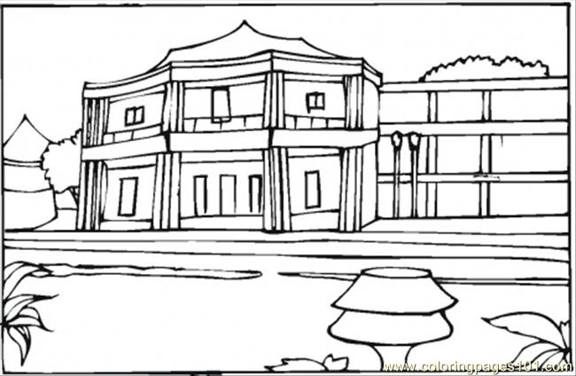 Little Hotel In The South Of France Coloring Page