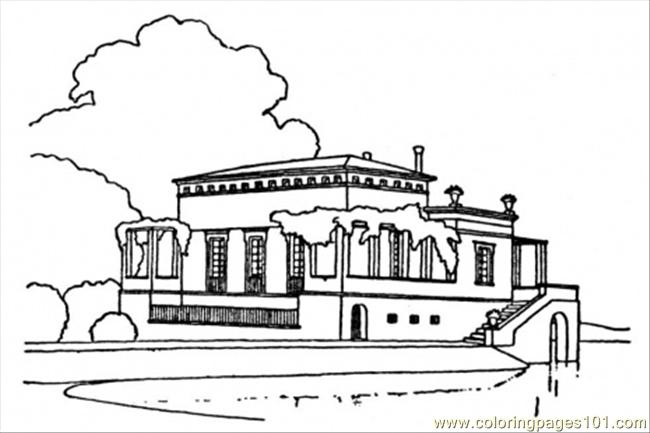 Luxury Country House Near The Lake Coloring Page