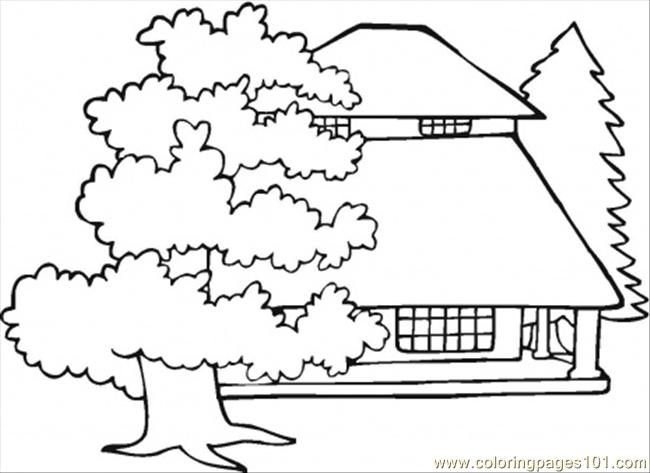 Mansion And Old Oaks Coloring Page