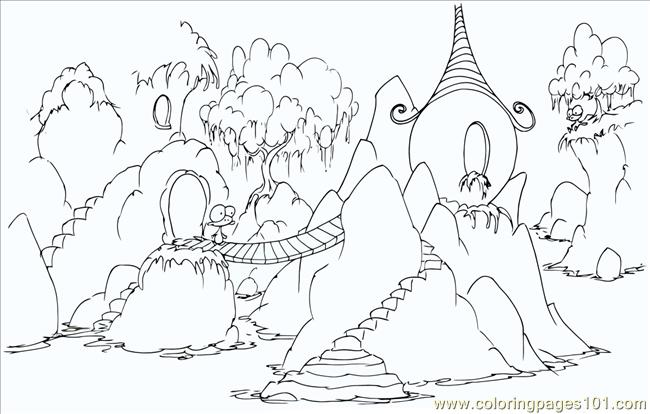Monkey Rock Village Coloring Page