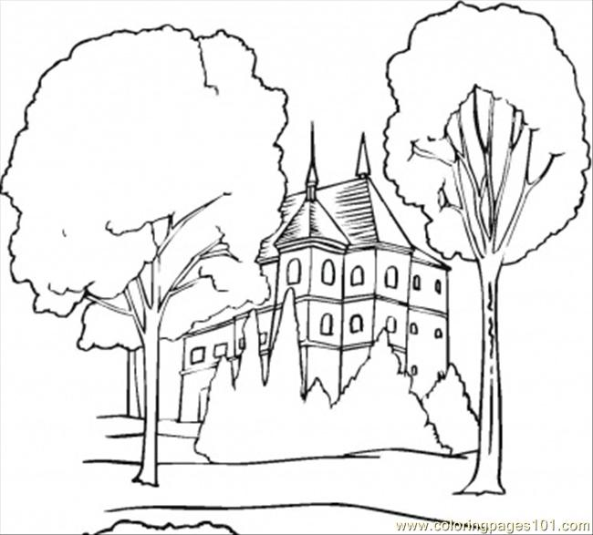 Old Mansion In The Forest Coloring Page