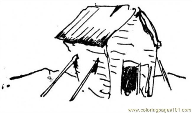 Old Ruined Hut Coloring Page