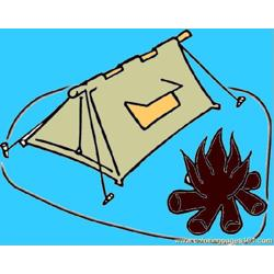 Campfire Free Coloring Page for Kids