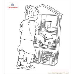 Doll House Coloring Page Free Coloring Page for Kids