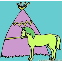 Wigwam With The Horse Free Coloring Page for Kids