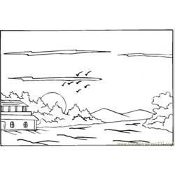 Beautiful Summer House In The Sunset coloring page