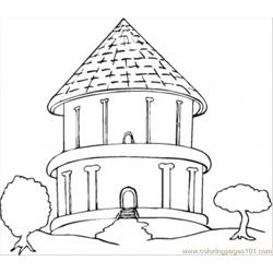 Big Round Bungalow In The Trees Free Coloring Page for Kids