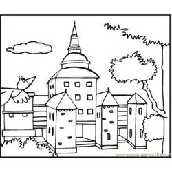 Bird Is Flying To Big Mansion Free Coloring Page for Kids