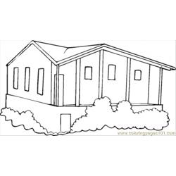 Bungalow Free Coloring Page for Kids