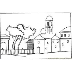 Bungalow Near The Tree Free Coloring Page for Kids