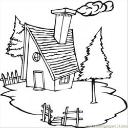Cold Cottage In The Village Free Coloring Page for Kids